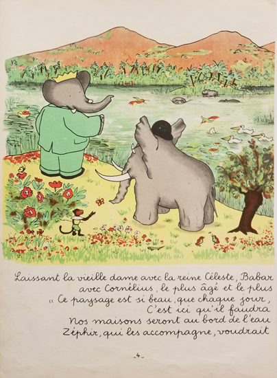 Babar Book Page Illustration - By the Lake
