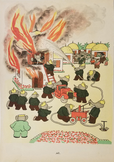 Babar Book Page Illustration - Firefighters