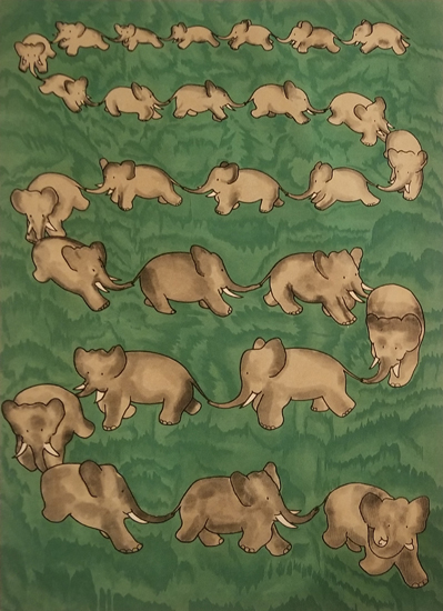 Babar Book Page Illustration - Green