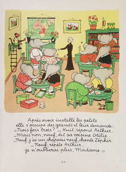 Babar Book Page Illustration - Classroom