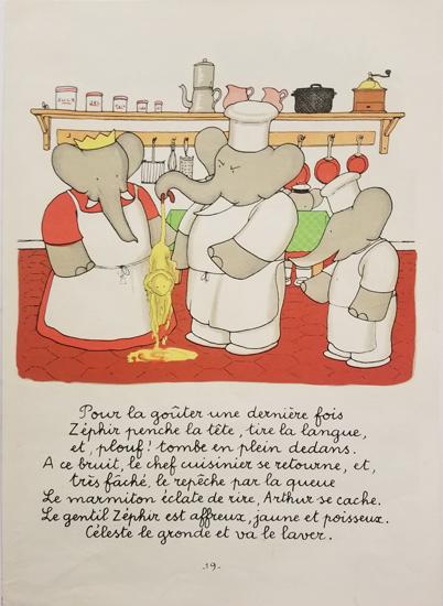 Babar Book Page Illustration - Monkey