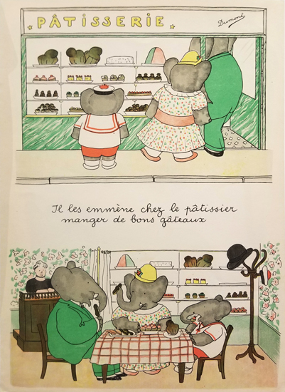 Babar Book Page Illustration - Patisserie