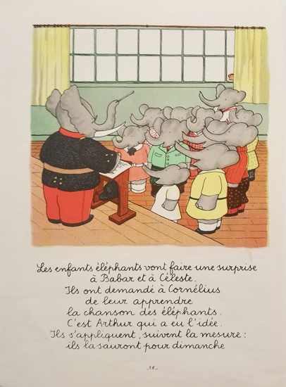 Babar Book Page Illustration - Concert